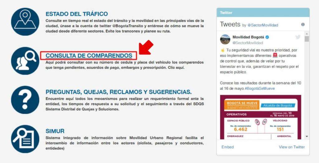 pantalla para consulta de comparendos
